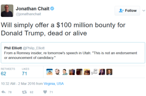 jonathan-chait-tweet-offers-100m-bounty-for-trump-dead-or-alive